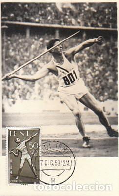 IFNI EDIFIL 158, LANZAMIENTO DE JABALINA, TARJETA MÁXIMA DE SIDI IFNI DE 17-12-1959, MUY RARA (Sellos - Temáticas - Deportes)