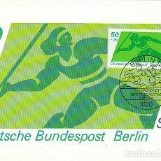 Sellos: ALEMANIA BERLIN IVERT 582, LANZAMIENTO DE JAVALINA, TARJETA MÁXIMA DE 8-5-1980. Lote 230410605