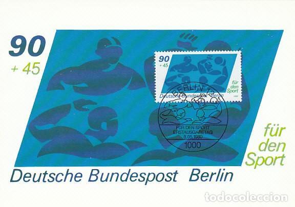 ALEMANIA BERLIN IVERT 584, WATERPOLO, TARJETA MÁXIMA DE 8-5-1980 (Sellos - Temáticas - Deportes)