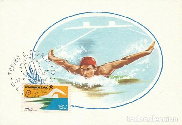 ITALIA, NATACION, UNIVERSIADA EN TURIN, TARJETA MAXIMA DE 27-8-1970 (Sellos - Temáticas - Deportes)