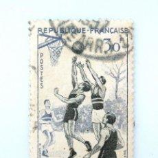 Sellos: SELLO POSTAL FRANCIA 1956, 30 ₣ , BASQUETBOL, USADO. Lote 231002260