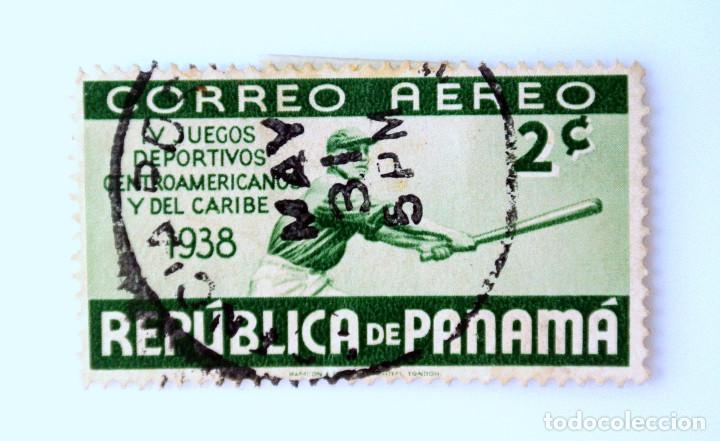 SELLO POSTAL PANAMA 1938, 2 C, BEISBOL IV JUEGOS DEPORTIVOS CENTROAMERICANOS Y DEL CARIBE, USADO (Sellos - Temáticas - Deportes)