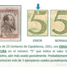 Sellos: R295-2 CUBA 1951 U 30TH ANNIVERSARY OF THE VICTORY OF JOSE CAPABLANCA - ERROR - RRR. Lote 231284340