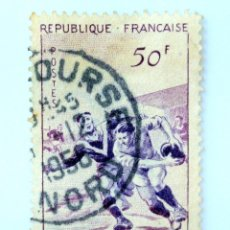 Sellos: SELLO POSTAL FRANCIA 1956 ,50 F , RUGBY, USADO. Lote 231431050