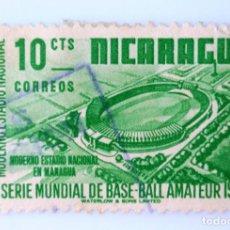 Sellos: SELLO POSTAL NICARAGUA 1949 , 10 C, ESTADIO NACIONAL, X SERIE MUNDIAL DE BASE-BALL AMATEUR, USADO. Lote 231439355