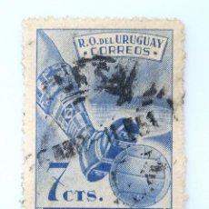 Sellos: SELLO POSTAL URUGUAY 1951, 7 C, IV CAMPEONATO MUNDIAL DE FUTBOL, USADO. Lote 231584385