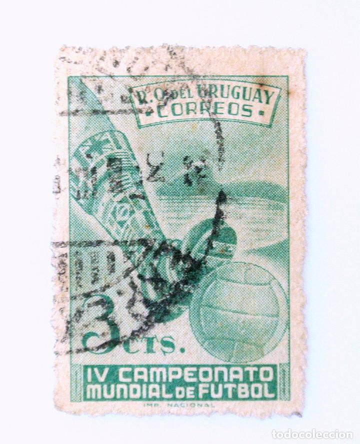 SELLO POSTAL URUGUAY 1951, 3 C, IV CAMPEONATO MUNDIAL DE FUTBOL, USADO (Sellos - Temáticas - Deportes)