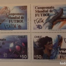 Sellos: CHILE. HOJA BLOQUE MUNDIAL DE FUTBOL ITALIA 1990 MNH**. Lote 234967755