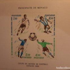 Sellos: MÓNACO. HOJA BLOQUE MUNDIAL DE FUTBOL ESPAÑA 1982 MNH**. Lote 234968505