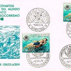 Sellos: EDIFIL 2202, CAMPº DEL MUNDO SALVAMENTO Y SOCORRISMO, 2 PRIMER DIA ESPECIALES DIFERENTES, 5-9-1974. Lote 235048845