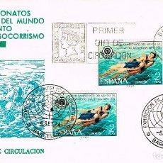 Sellos: EDIFIL 2202, CAMPEONATO DEL MUNDO SALVAMENTO Y SOCORRISMO, PRIMER DIA + ESPECIAL 5-9-1974 SFC. Lote 235049945