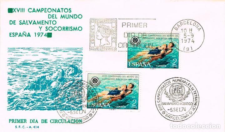 EDIFIL 2202, CAMPEONATO DEL MUNDO SALVAMENTO Y SOCORRISMO, PRIMER DIA + ESPECIAL TETRAT 5-9-1974 SFC (Sellos - Temáticas - Deportes)