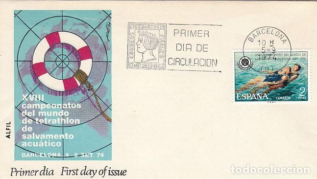 EDIFIL 2202, CAMPEONATO DEL MUNDO SALVAMENTO Y SOCORRISMO, PRIMER DIA DE 5-9-1974 ALFIL (Sellos - Temáticas - Deportes)