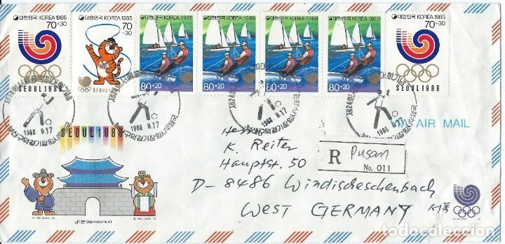 1988. COREA DEL SUR. SOBRE CIRCULADO CERTIFICADO. JUEGOS OLÍMPICOS SEÚL. (Sellos - Temáticas - Deportes)
