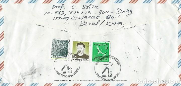 Sellos: 1988. COREA DEL SUR. SOBRE CIRCULADO CERTIFICADO. JUEGOS OLÍMPICOS SEÚL. - Foto 2 - 235094330
