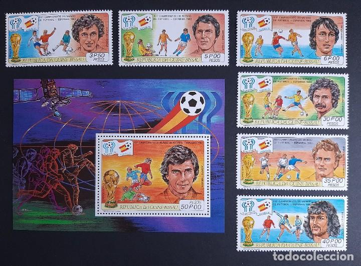 SELLOS GUINEA BISSAU - MUNDIAL FUTBOL ESPAÑA 82 - YVERT 137 / 140 + A 64/5 + HB 27 - NUEVOS** (Sellos - Temáticas - Deportes)