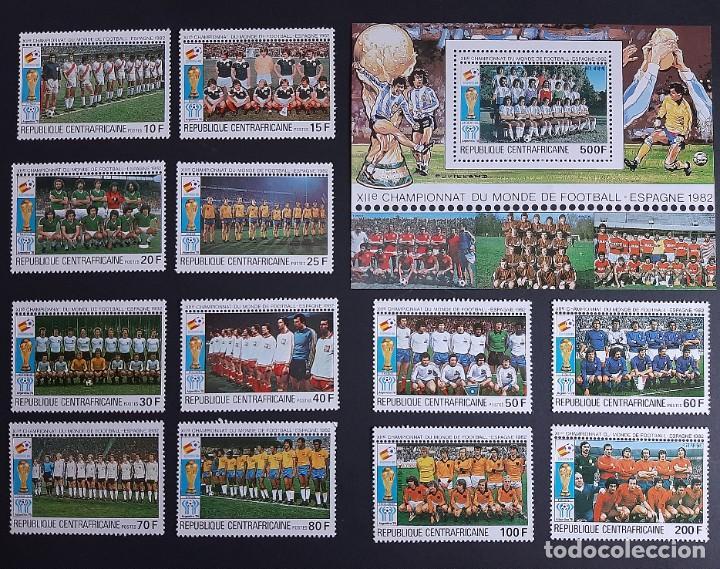 SELLOS REP. CENTROAFRICANA - MUNDIAL FUTBOL ESPAÑA 82 - YVERT 435 / 444 + A 234/5 + HB 45 - NUEVOS** (Sellos - Temáticas - Deportes)