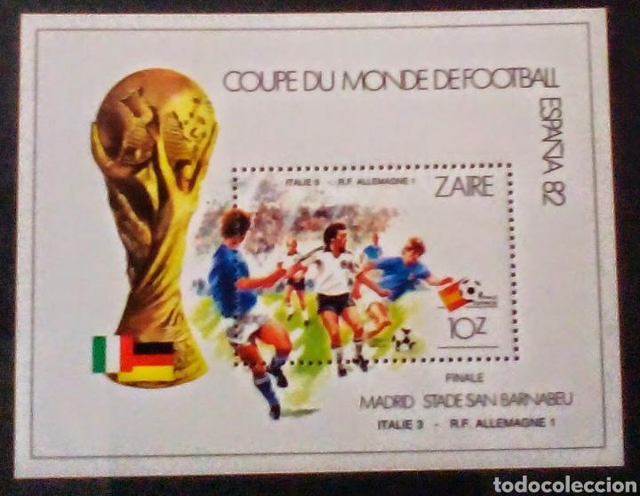 COPA MUNDIAL FUTBOL ESPAÑA 1982 HOJA BLOQUE DE SELLOS NUEVOS DE ZAIRE CONGO (Sellos - Temáticas - Deportes)