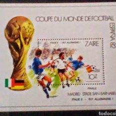 Sellos: COPA MUNDIAL FUTBOL ESPAÑA 1982 HOJA BLOQUE DE SELLOS NUEVOS DE ZAIRE CONGO. Lote 236428870