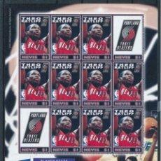 Sellos: SELLOS NEVIS 2005 BALONCESTO NBA THEO RATLIFF. Lote 236685230