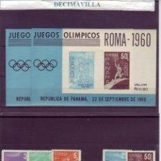 Sellos: DEVE072, PANAMA, OLIMPIADAS, ROMA 1960, 337/38 + A220/23 + H.B. 8. Lote 237545880