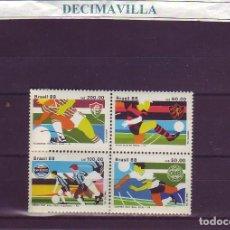 Sellos: DEFU074, BRASIL, EQUIPOS DE FUTBOL, 1988, 1884/87. Lote 237566895