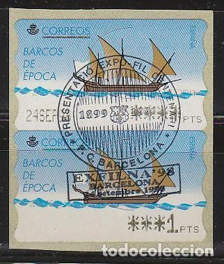 ETIQUETA DE FRANQUEO Nº 22, MATASELLADO CENTENARIO DEL BARSA 1899-1999, EXPOFIL, RARO (Sellos - Temáticas - Deportes)