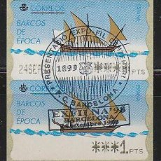 Sellos: ETIQUETA DE FRANQUEO Nº 22, MATASELLADO CENTENARIO DEL BARSA 1899-1999, EXPOFIL, RARO. Lote 240878065