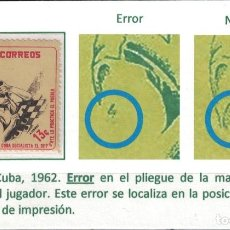 Sellos: CUBA 1962 CHESS PLAYER - ERROR IN PRINTING - RRR MNH - CHESS, ERRORS. Lote 241501670