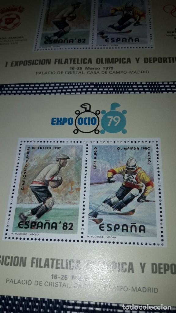 Sellos: 2 planchas mismos 2 sellos Expo Ocio 1979. Sin circular - Foto 2 - 242185505