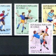 Sellos: CONGO 1990 AÉREO IVERT 394/7 *** ITALIA-90 - COPA DEL MUNDO DE FUTBOL- DEPORTES. Lote 243435970