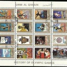 Sellos: UMM-AL-QIWAIN. HISTORY OF OLYMPIC GAMES. OLÍMPIADAS. 16 SELLOS EN HOJA SELLADOS. 8X10 CM. 1973.. Lote 244431520