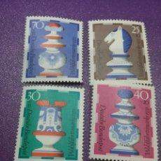 Sellos: SELLO ALEMANIA R. FEDERAL NUEVOS/1972/FIGURA/AJEDREZ/CABALLO/TORRE/REINA/REY/ARTE/ARTESANIA/DEPORTE/. Lote 244937360