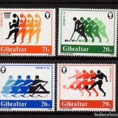 Sellos: GIBRALTAR 485/88** - AÑO 1984 - DEPORTES - HOCKEY, BALONCESTO, REMO, FUTBOL. Lote 245052260