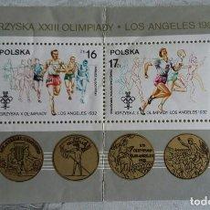 Sellos: HOJA TEMÁTICA DE SELLOS POLONIA, OLIMPIADA LOS ANGELES 84. Lote 245296180