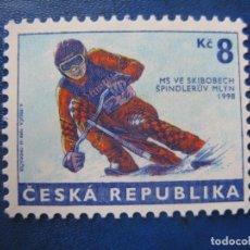 Sellos: REPUBLICA CHECA, 1998, CAMPEONATO DEL MUNDO DE SKI-BOB, YVERT 166. Lote 245384795
