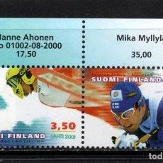 Sellos: FINLANDIA 1519A** - AÑO 2001 - CAMPEONATO DEL MUNDO DE ESQUI DE LAHTI. Lote 245448050