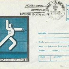 Sellos: 1981. RUMANÍA/ROMANIA. ENTERO POSTAL/STATIONERY. MATASELLOS UNIVERSIADA'81. ESGRIMA/FENCING DEPORTES. Lote 246004050