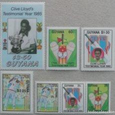 Sellos: 1985. GUAYANA. 1893 / 1899. HOMENAJE AL FAMOSO JUGADOR DE CRICKET CLIVE LLOYD. SERIE COMPLETA. NUEVO. Lote 246092535