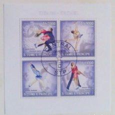 Sellos: OLIMPIADAS DE INVIERNO TURIN 2006 HOJA BLOQUE DE SELLOS USADOS DE ST. TOME Y PRÍNCIPE. Lote 246220835