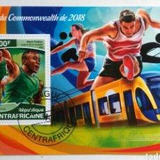 Sellos: JUEGOS DE LA CONMONWEATH 2017 HOJA BLOQUE DE SELLOS USADOS DE REPÚBLICA CENTROAFRICANA. Lote 246222100