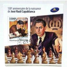 Sellos: AJEDREZ JOSE RAUL CAPABLANCA HOJA BLOQUE DE SELLOS USADOS DE NIGER. Lote 246273990