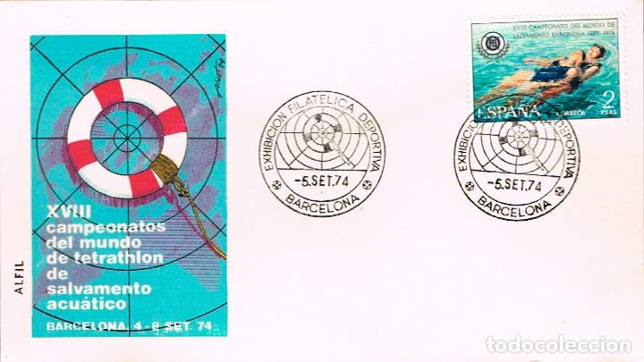 EDIFIL 2202, CAMPº DEL MUNDO SALVAMENTO Y SOCORRISMO, PRIMER DIA ESPECIAL EXPO DEPORTIVA, 5-9-1974 (Sellos - Temáticas - Deportes)