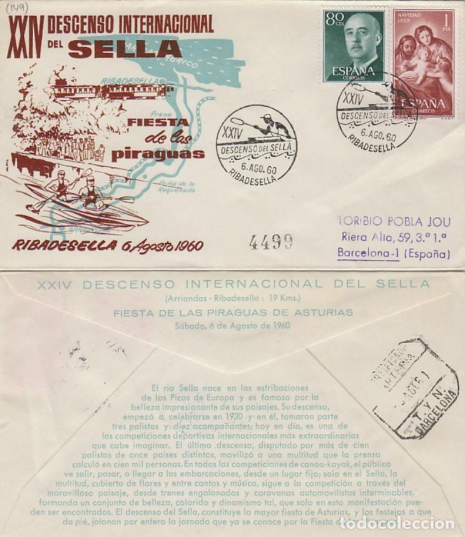 AÑO 1960, RIBADESELLA (ASTURIAS) DESCENSO INTERNACIONAL DEL SELLA, SOBRE DE ALFIL CIRCULADO (Sellos - Temáticas - Deportes)
