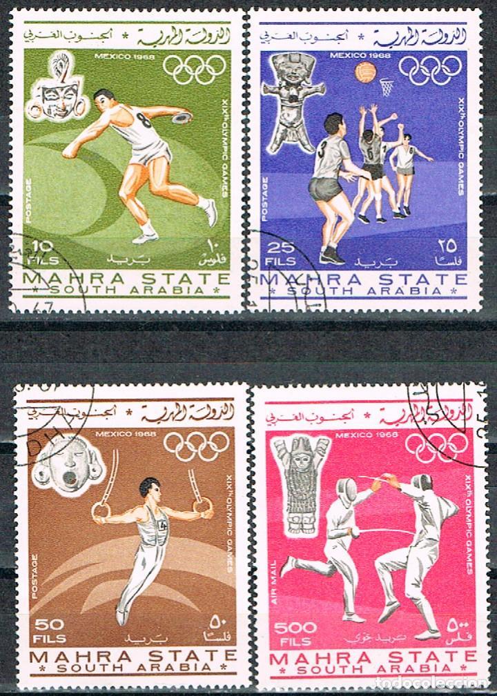 MAHRA, SULTANATO (YEMEN), LANZAMIENTO DE DISCO, JUEGOS OLIMPICOS DE MEXICO, USADO, 4 SELLOS (Sellos - Temáticas - Deportes)