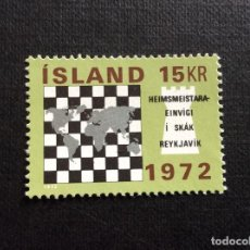 Sellos: ISLANDIA Nº YVERT 417** AÑO 1972. CAMPEONATO INTERNACIONAL DE AJEDREZ. CON CHARNELA. Lote 251794070