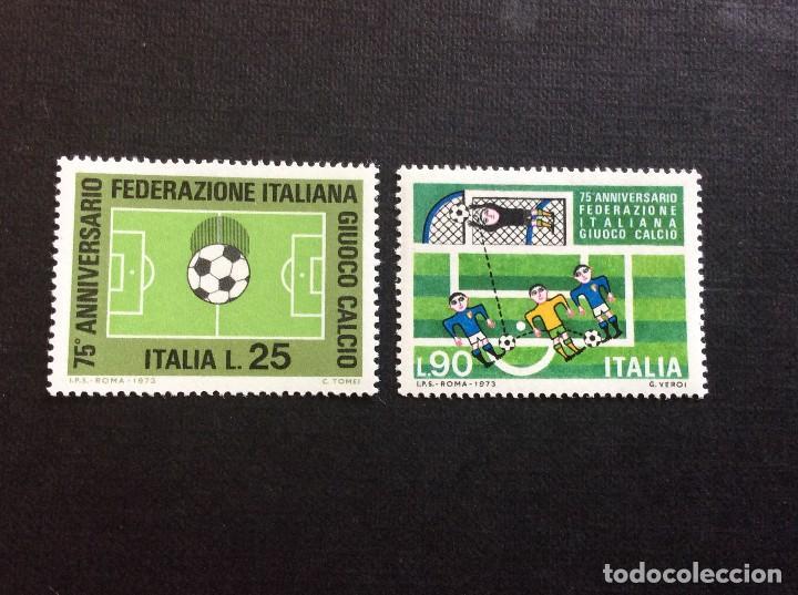 ITALIA Nº YVERT 1137/8*** AÑO 1973. 75 ANIVERSARIO FEDERACION ITALIANA DE FUTBOL (Sellos - Temáticas - Deportes)