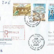 Sellos: 1996. ITALIA. SOBRE CIRCULADO P.D. JUEGOS OLÍMPICOS DE ATLANTA. ATLETISMO. BALONCESTO. GIMNASIA.. Lote 261951615