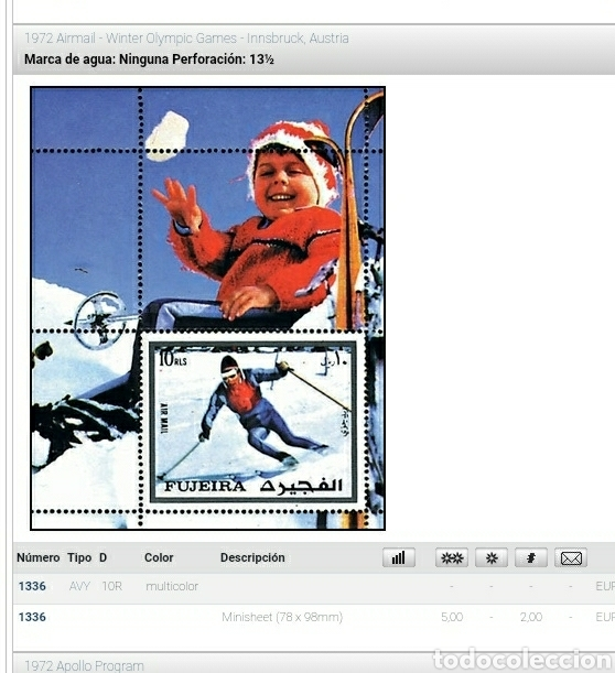 Sellos: HB Fujeira (E.A.U) mtdo/1972/juegos/olimpiadas/Innsbruck/Austria/niño/esqui/pista/naturaleza/deporte - Foto 2 - 262283390