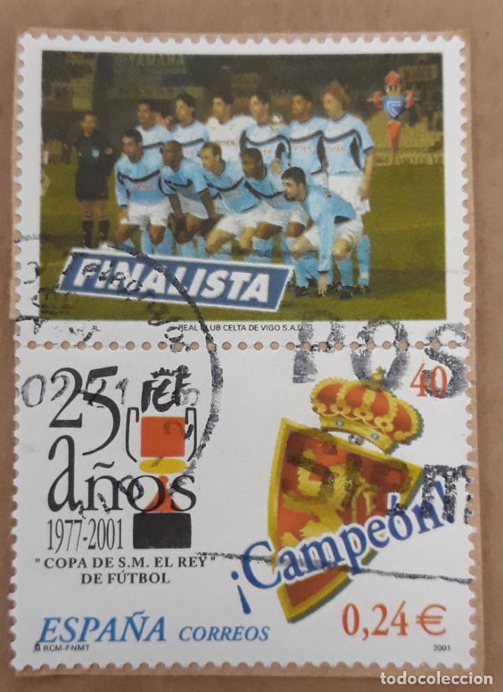 SELLOS ESPAÑA 2001. 25 AÑOS COPA DE S.M. EL REY DE FUTBOL. USADO (Sellos - Temáticas - Deportes)